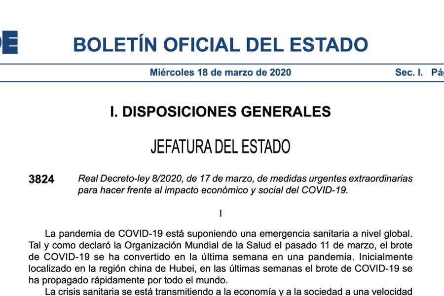 Medidas Real Decreto 17 marzo 2020